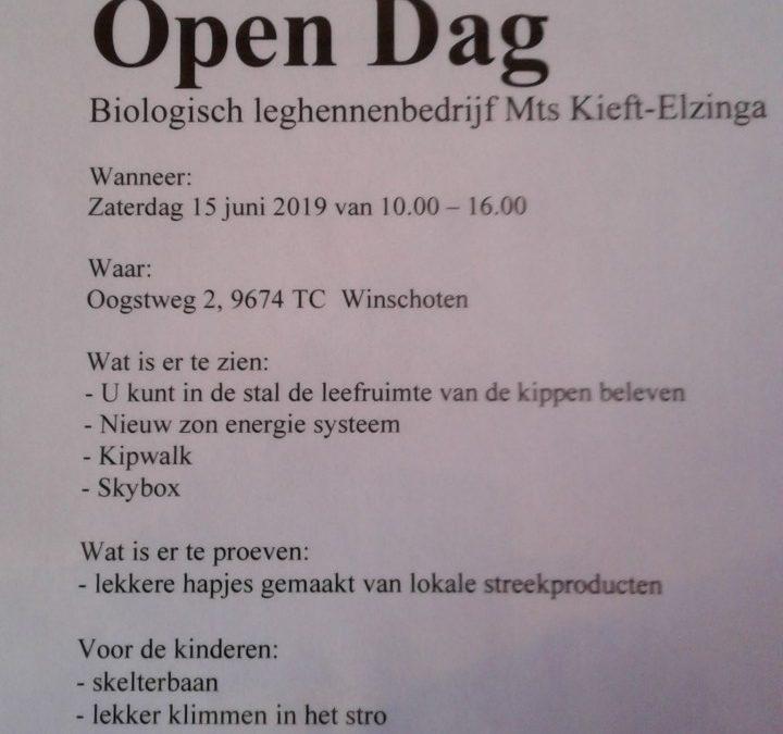 Open Dag zaterdag 15 juni